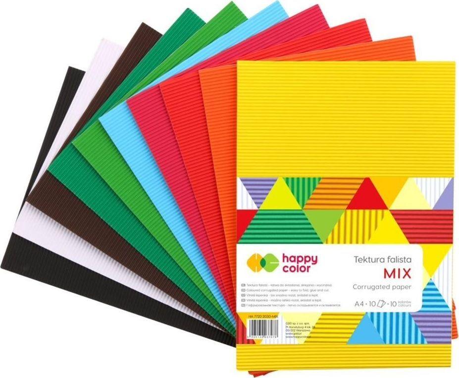 Happy Color Tektura falista A4 mix kolorów 10 arkuszy 1