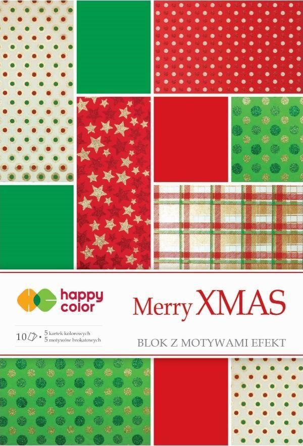 Happy Color Blok Effect Merry Christmas 10 arkuszy, 5 wzorów 1