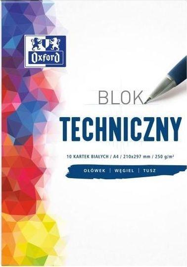 Oxford Blok techniczny A4 10k biały 20szt. 1