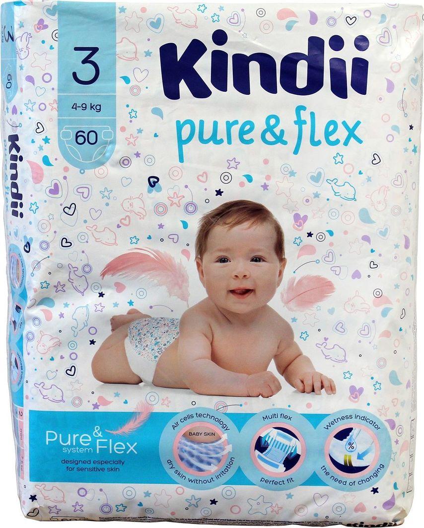 Kindii Pure & Flex Pieluchy jednorazowe r. 3 (4-9kg) 60szt 1