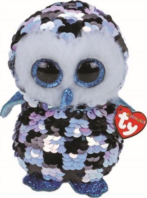 TY TY BOOS TOPPER - cekinowa niebiesko czarna sowa 15cm 36348 1
