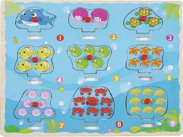 Brimarex Top Bright Puzzle drewniane pinezki Liczymy Ocean 1