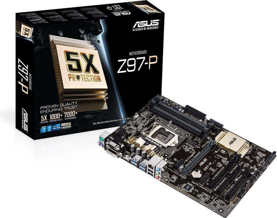 Płyta główna Asus Z97-P Z97 DualDDR3-1600, SATA3, RAID, HDMI, DVI, D-Sub, DP, ATX - (Z97-P) 1