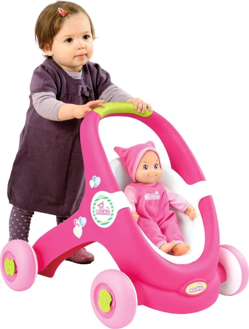 Smoby MiniKiss chodzik pchacz wózek 2w1 w zestawie z interaktywną lalką Smoby uniwersalny 1