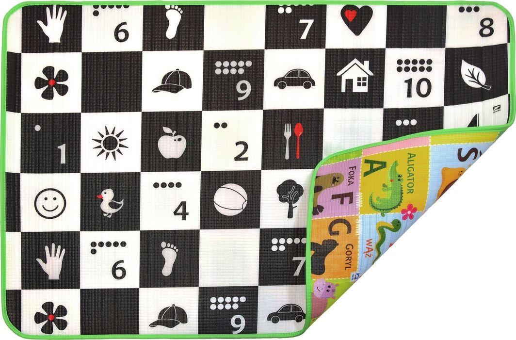 Humbi Piankowa dwustronna mata edukacyjna Szachownica 3w1 Polski Alfabet Cyfry Obrazki Kontrastowe czarno-biała 100 x 150 x 1 cm uniwersalny 1