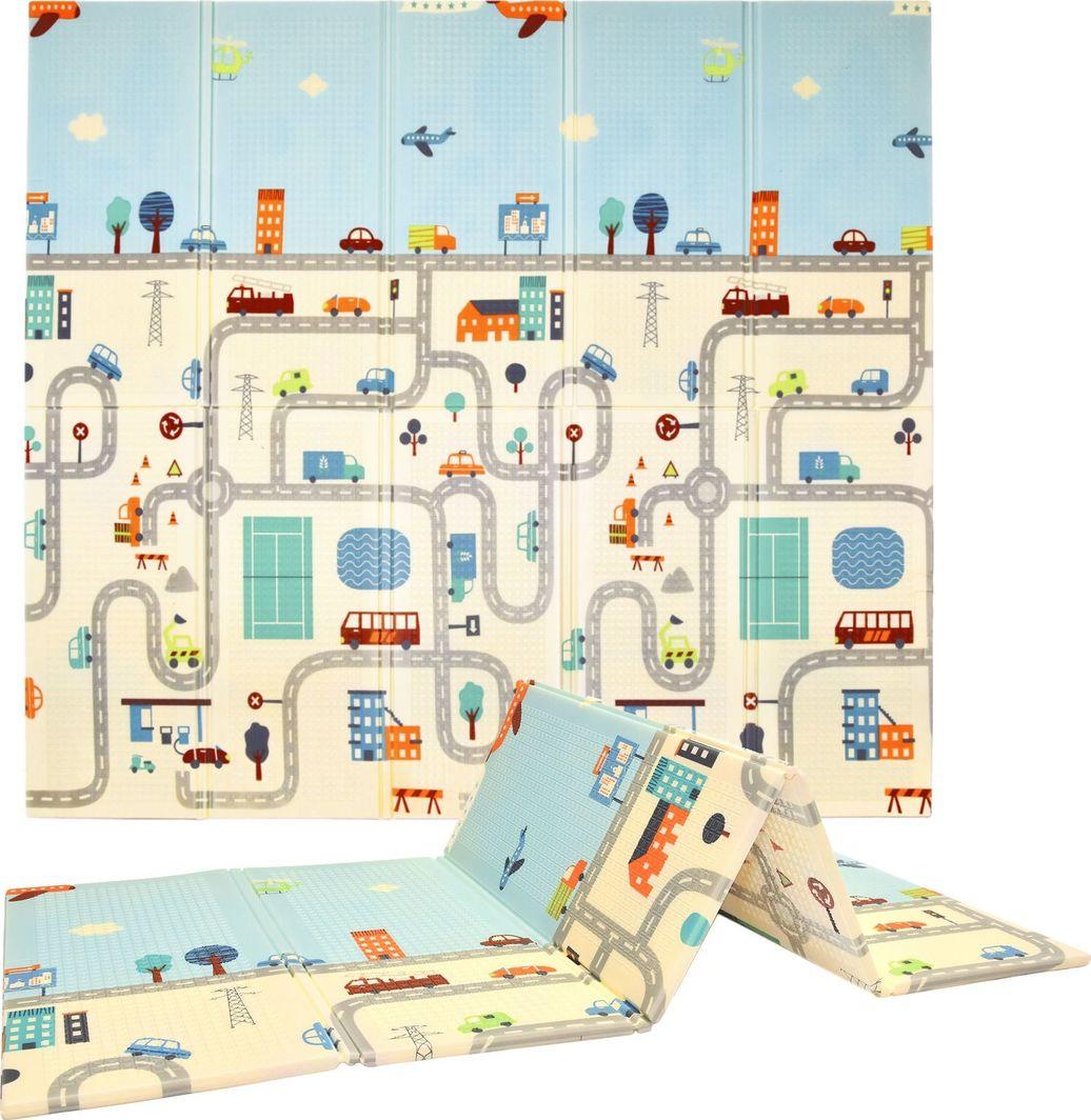 Humbi Humbi Dwustronna edukacyjna składana mata piankowa XPE Uliczki Zwierzęta 197 x 177 x 1 cm pastelowa uniwersalny 1
