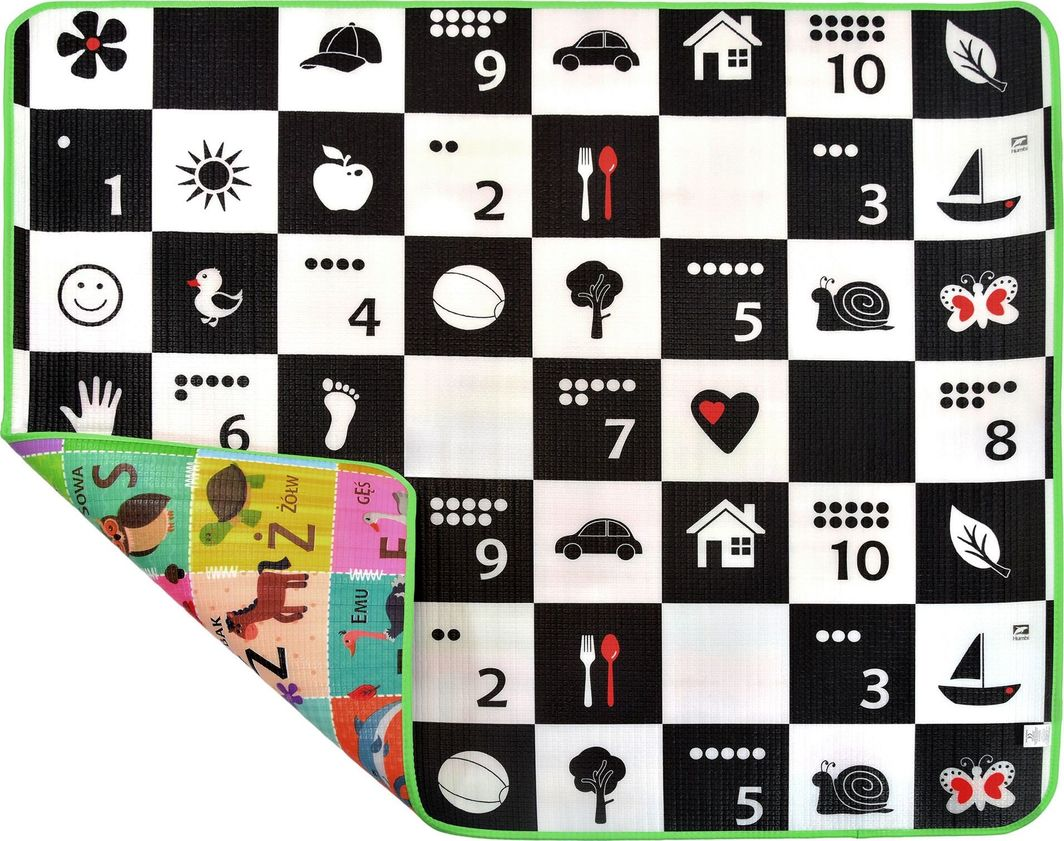 Humbi Piankowa dwustronna mata edukacyjna Szachownica 3w1 Polski Alfabet Cyfry Obrazki Kontrastowe czarno-biała 150 x 180 x 1 cm uniwersalny 1