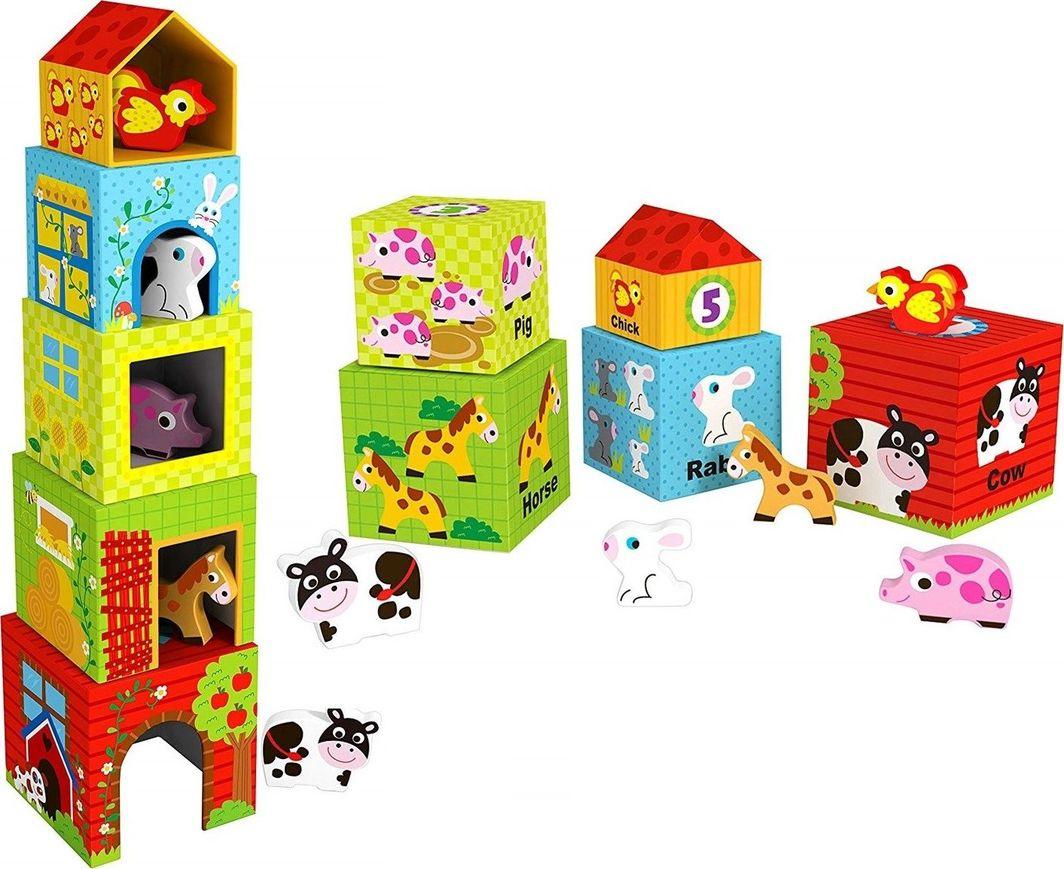 Tooky Toy Piramidka ze Zwierzętami Klocki Wieża 1