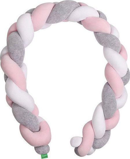 Lulando Lulando Ochraniacz - braid welur, szary / róż / biały, 300 cm uniwersalny 1