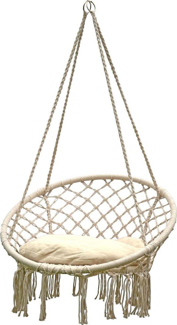 Saska Garden Hamak ażurowy fotel wiszący 80 x 60 cm z poduszką Ecru (245640) 1
