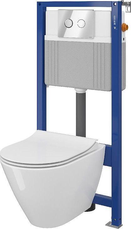Zestaw podtynkowy Cersanit SET B324 stelaż Aqua + miska WC City Oval Clean-On + deska duroplastowa wolnoopadająca + przycisk Accento chrom (S701-324) 1
