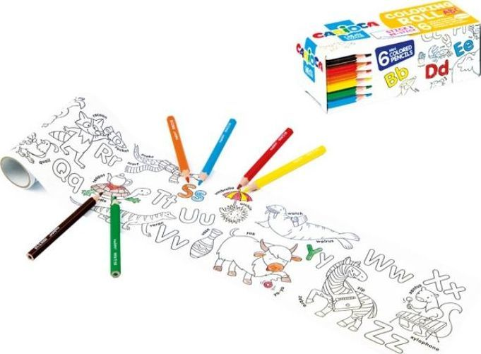 Kolorowanka w rolce mini+ kredki 6 kolorów 1