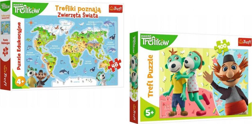 Trefl Trefliki Zwierzęta + puzzle 100 elementów 1
