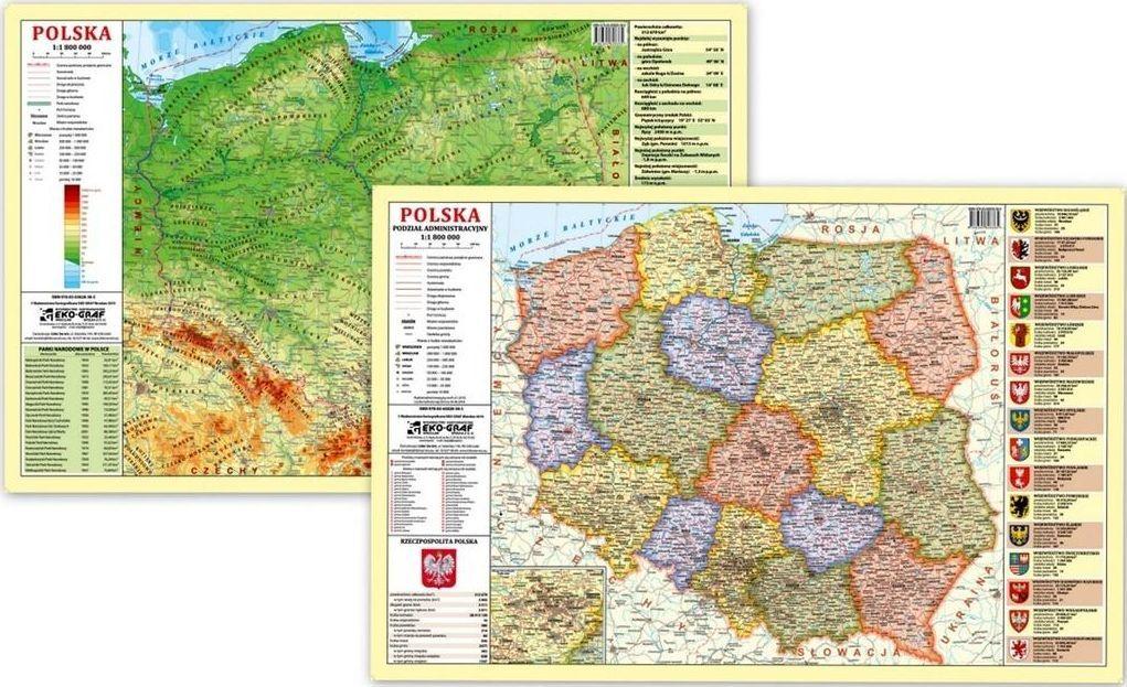EkoGraf Podkładka na biurko - Mapa fizyczno-admini. Polska 1