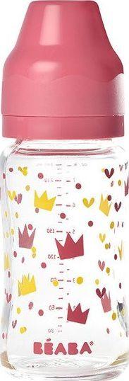 Beaba Butelka szklana szerokootworowa Yellow / Pink Crown 0m+ 240ml 1