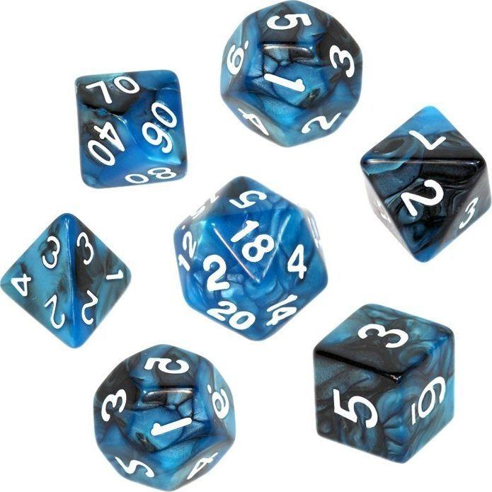 Rebel Komplet kości REBEL RPG - Dwukolorowe - Czarno-niebieskie 1