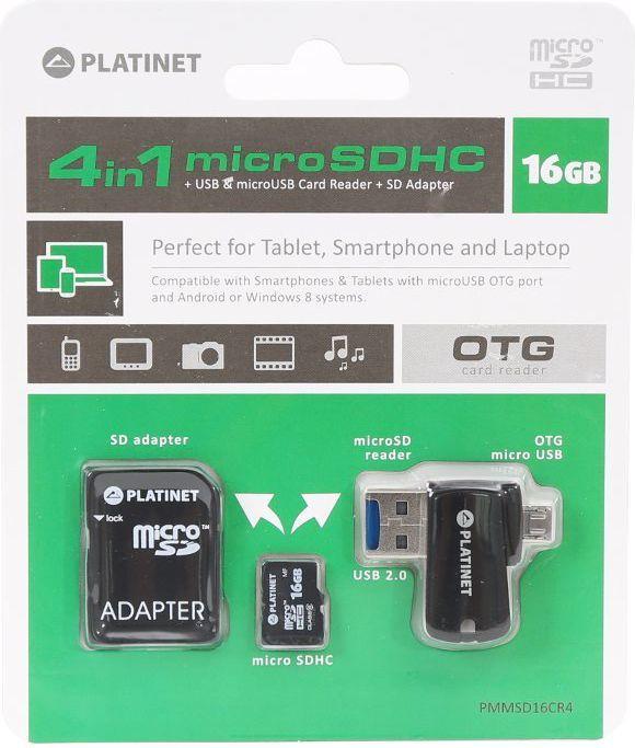 Karta Platinet MicroSDHC 16 GB  (PMMSD16CR4) 1