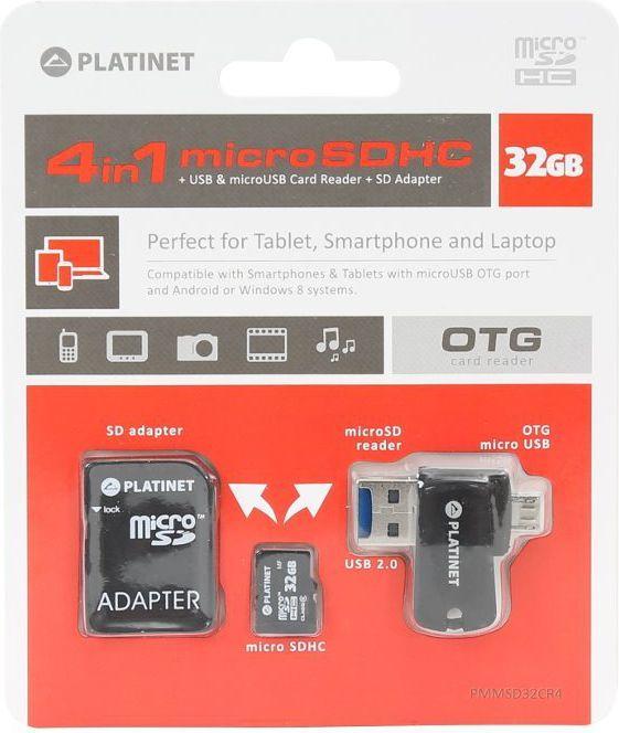 Karta Platinet MicroSDHC 32 GB  (PMMSD32CR4) 1
