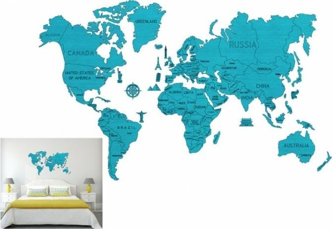 WOODEN CITY Mapa świata rozmiar XXL kolor cyan 1
