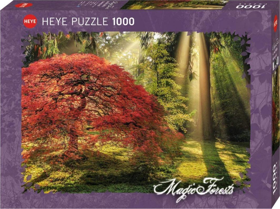 Heye Puzzle 1000 elementów Las o zachodzie słońca 1
