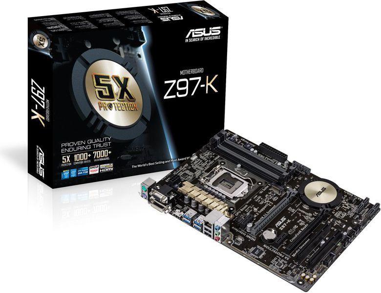 Płyta główna Asus Z97-K, Z97, DualDDR3-1600, SATA3, RAID, HDMI, DVI, D-Sub, ATX (Z97-K) 1