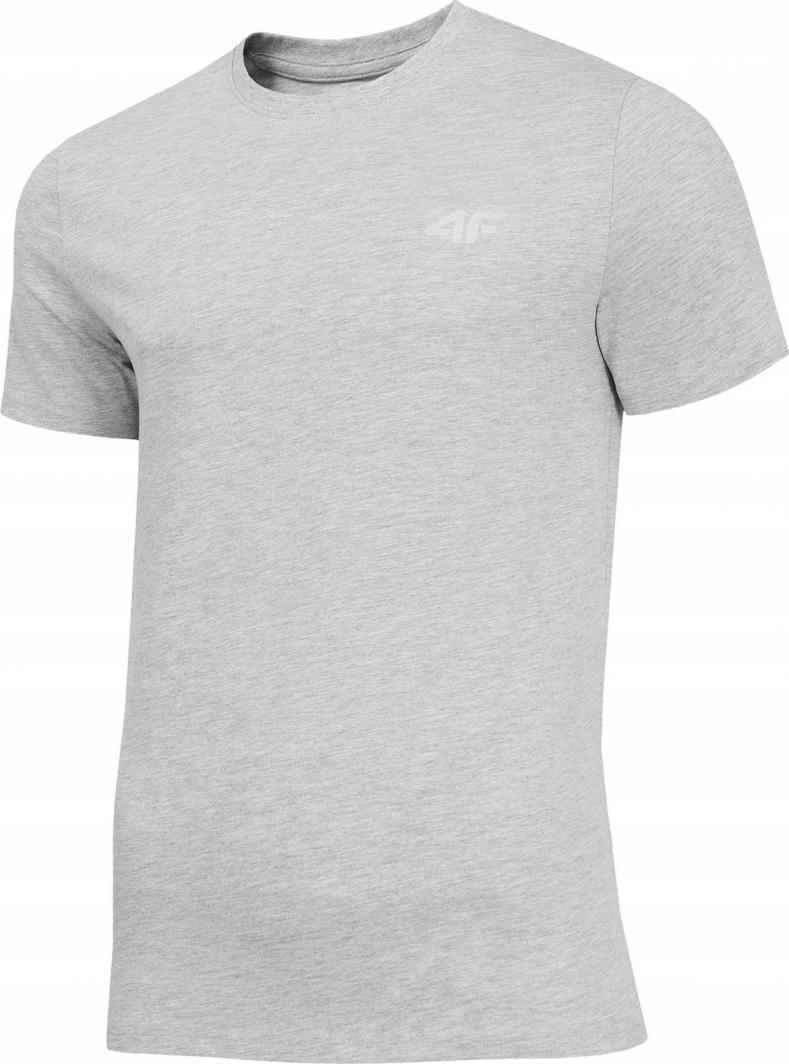 4f t-shirt męski NOSH4-TSM003 CHŁODNY JASNY SZARY MELANŻ r.M 1
