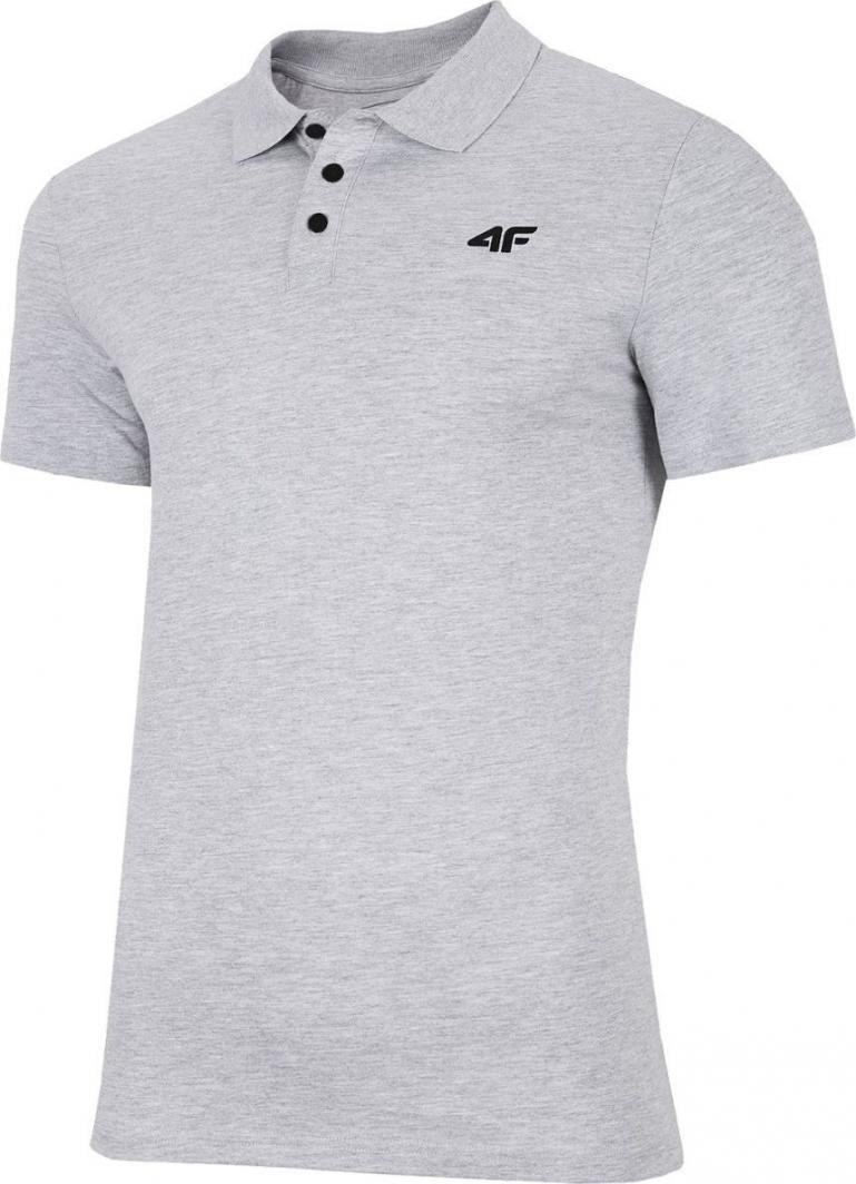 4f t-shirt męski NOSH4-TSM007 chłodny jasny szary melanż r.M 1