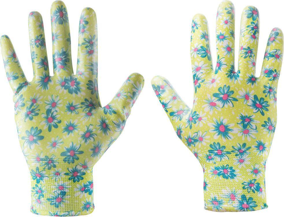"""Verto Rękawice ogrodowe (Rękawice ogrodowe pokryte nitrylem, wzór kwiatki, rozmiar 7"""") 1"""