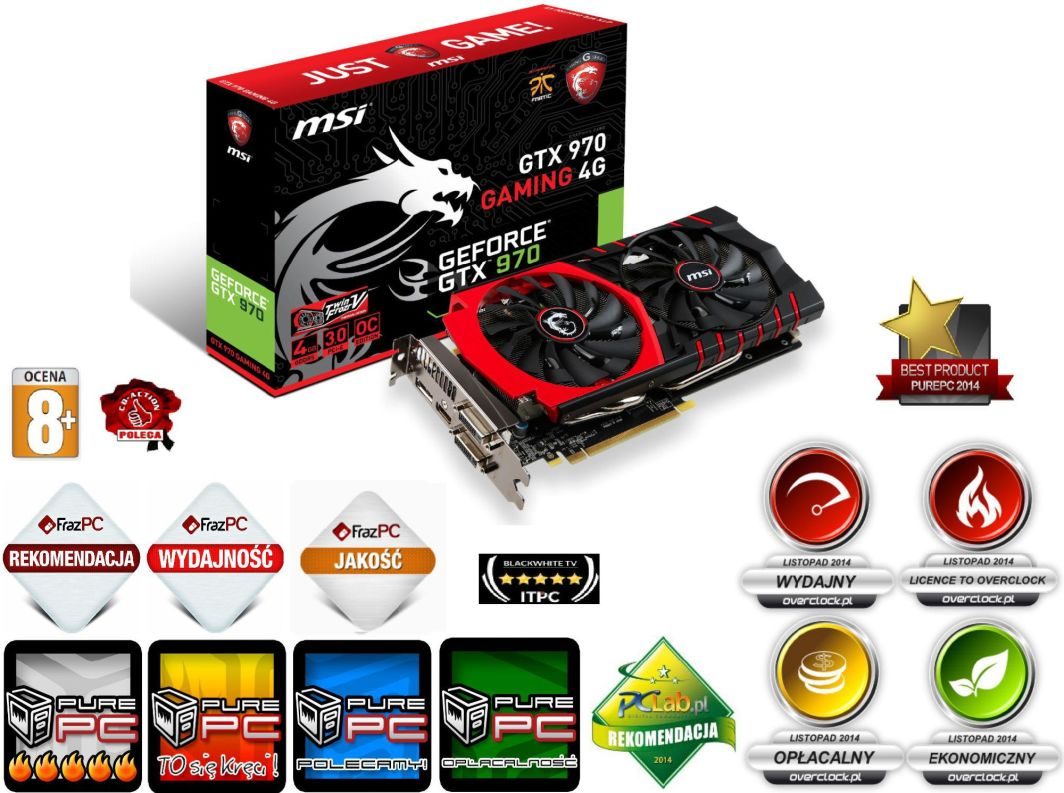 Karta graficzna MSI GeForce GTX 970 GAMING 4GB DDR5 (256 bit) DP, HDMI, 2x DVI (GTX 970 GAMING 4G) 1