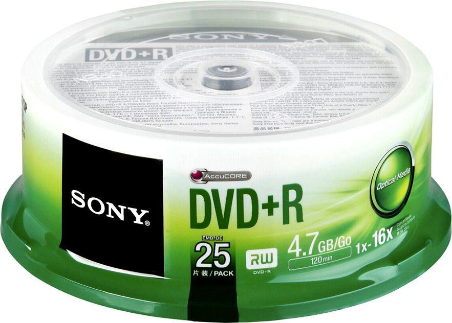 Sony DVD+R SONY 4.7GB 16X CAKE 25 SZT (25DPR47SP) 1