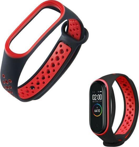 Alogy Sportowy pasek opaska alogy do Xiaomi Mi Band 3/4 czarno-czerwony uniwersalny 1