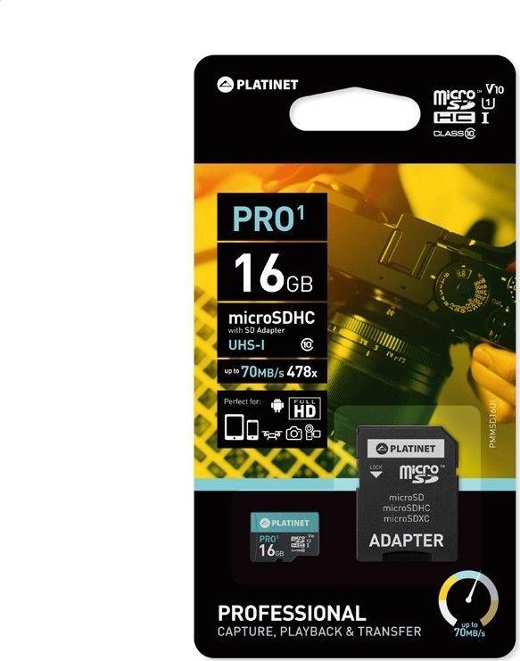 Karta Platinet MicroSDHC 16 GB Class 10 UHS-I/U1 V10 (PMMSD16UI) 1