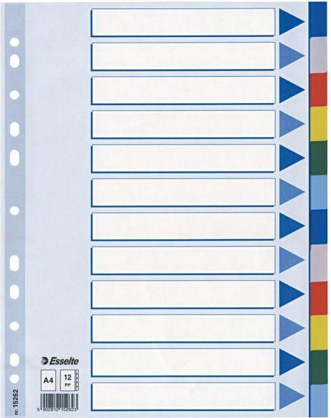 Esselte Przekładki do segregatora A4 PP plastikowe 12 kart (10K217D) 1