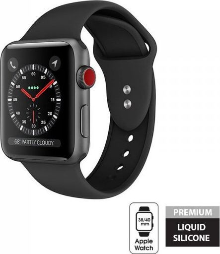 Crong Crong Liquid Band - Pasek Apple Watch 38/40 mm (czarny) 1