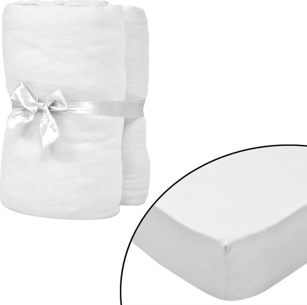 vidaXL Prześcieradła z gumką do łóżeczka, 4 szt., 60 x 120 cm, białe 1