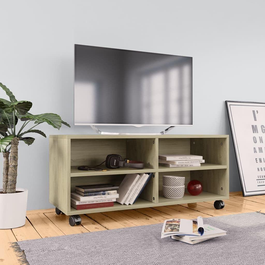 vidaXL Szafka pod TV z kółkami, dąb sonoma, 90x35x35, płyta wiórowa 1