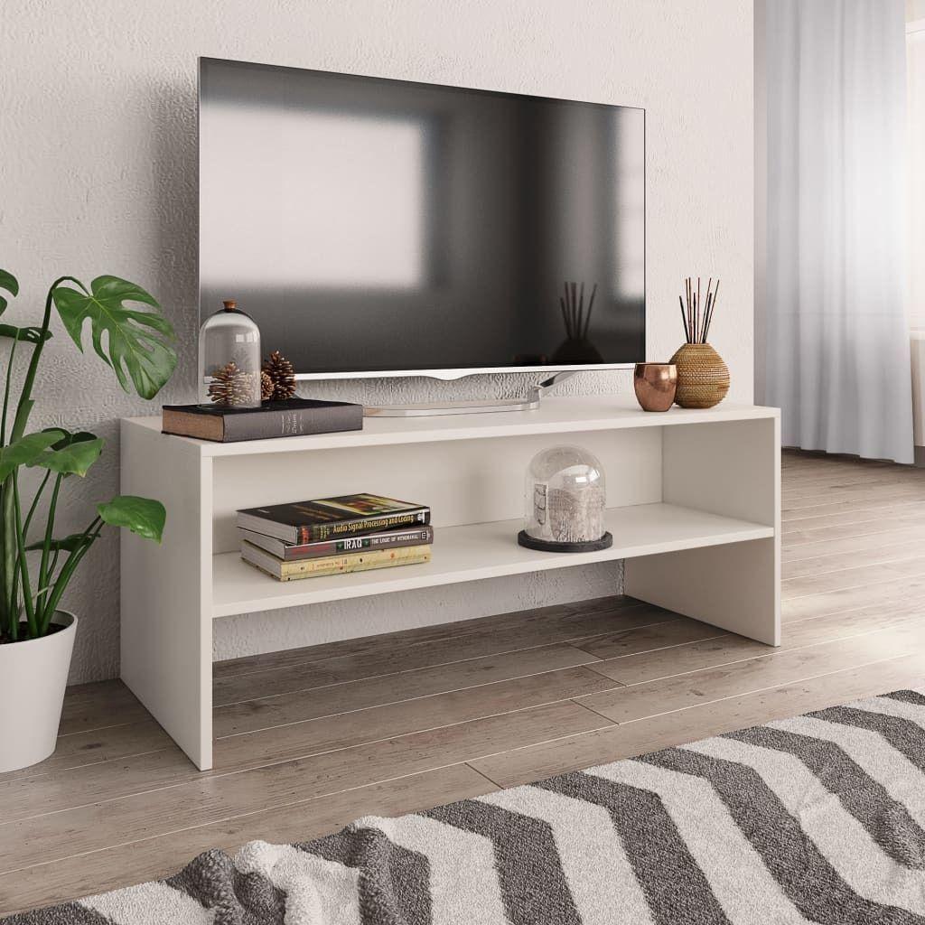 vidaXL Szafka pod TV, biała, 100 x 40 x 40 cm, płyta wiórowa 1