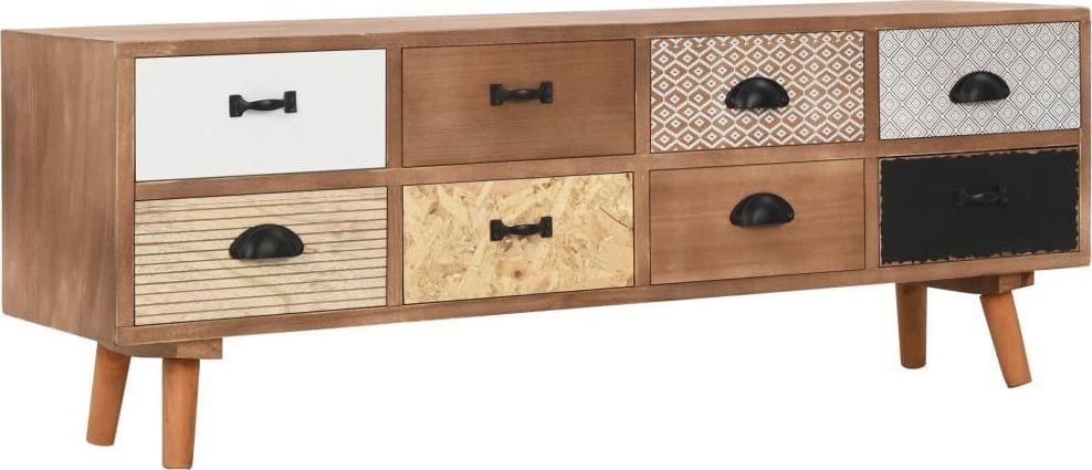 vidaXL Szafka pod TV z 8 szufladami, 120x30x40 cm, lite drewno sosnowe 1