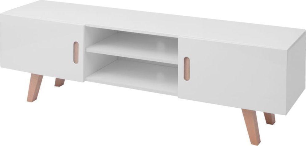 vidaXL Szafka pod TV, MDF, 150x35x48,5 cm, wysoki połysk, biała 1