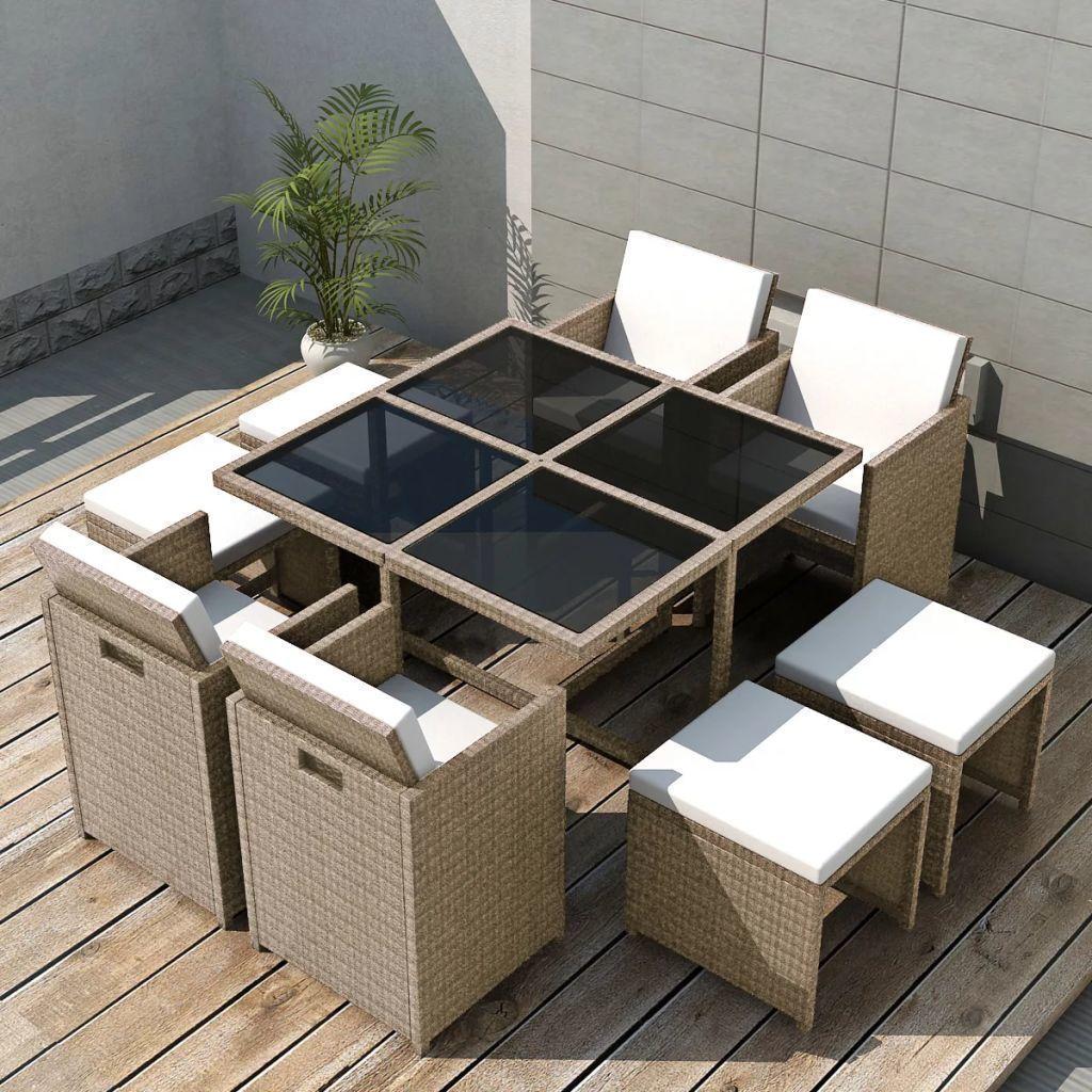 vidaXL 9-cz. zestaw mebli ogrodowych z poduszkami, rattan PE, beżowy 1