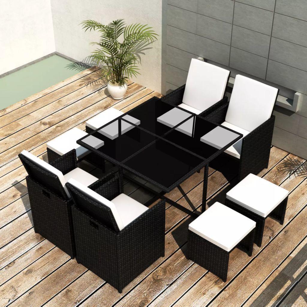 vidaXL 9 częściowy zestaw mebli ogrodowych z poduszkami, rattan PE, czarny (42522) 1