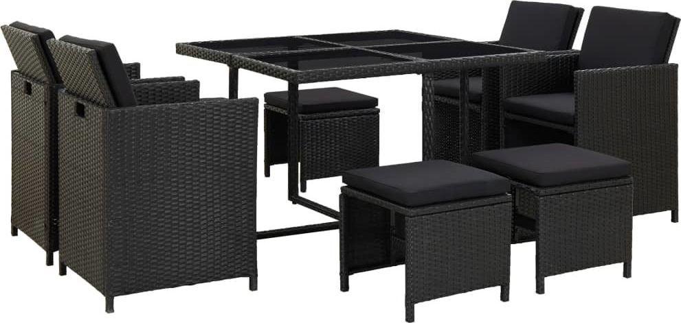 vidaXL 9 częściowy zestaw mebli ogrodowych z poduszkami, rattan PE, czarny (46532) 1