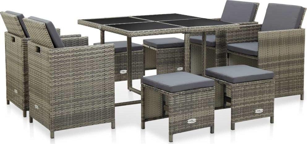 vidaXL 9 częściowy zestaw mebli ogrodowych z poduszkami, rattan PE, szary (46536) 1