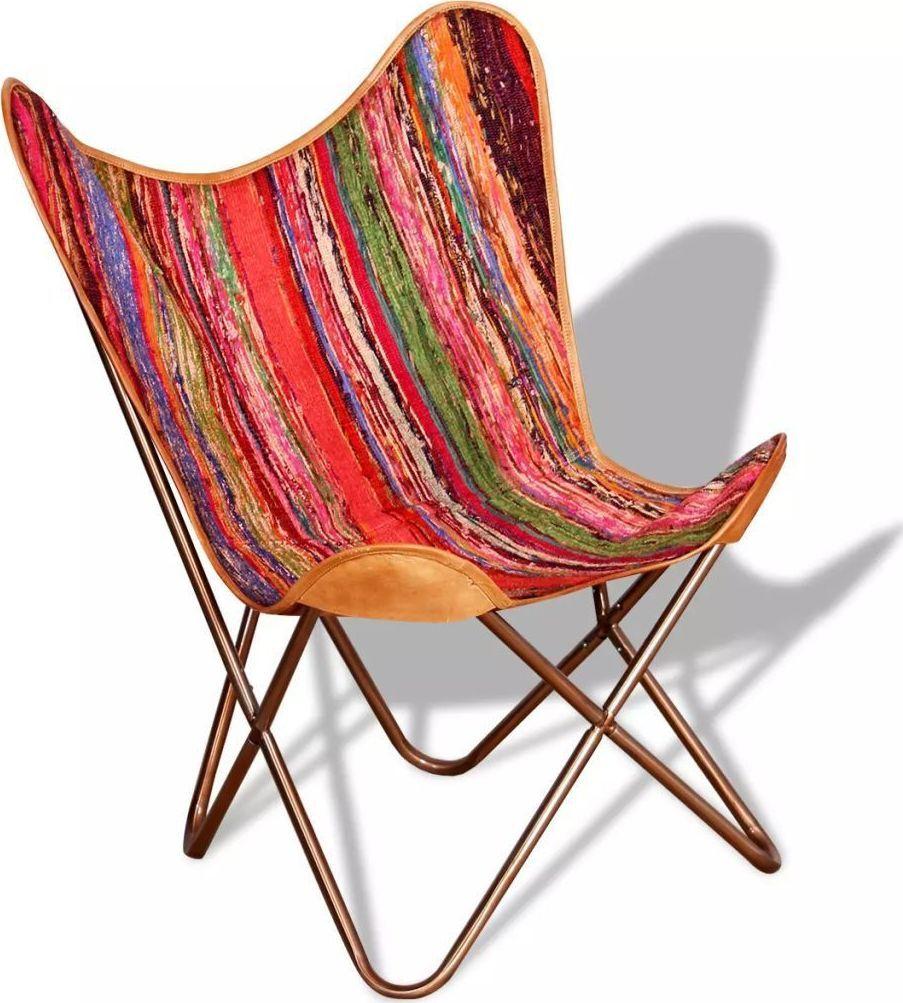 vidaXL Krzesło motyl, w stylu chindi, wielokolorowe, tkanina 1