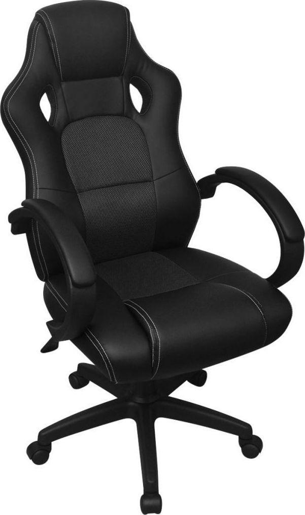 vidaXL Krzesło biurowe w stylu sportowym ze sztucznej skóry czarne 1