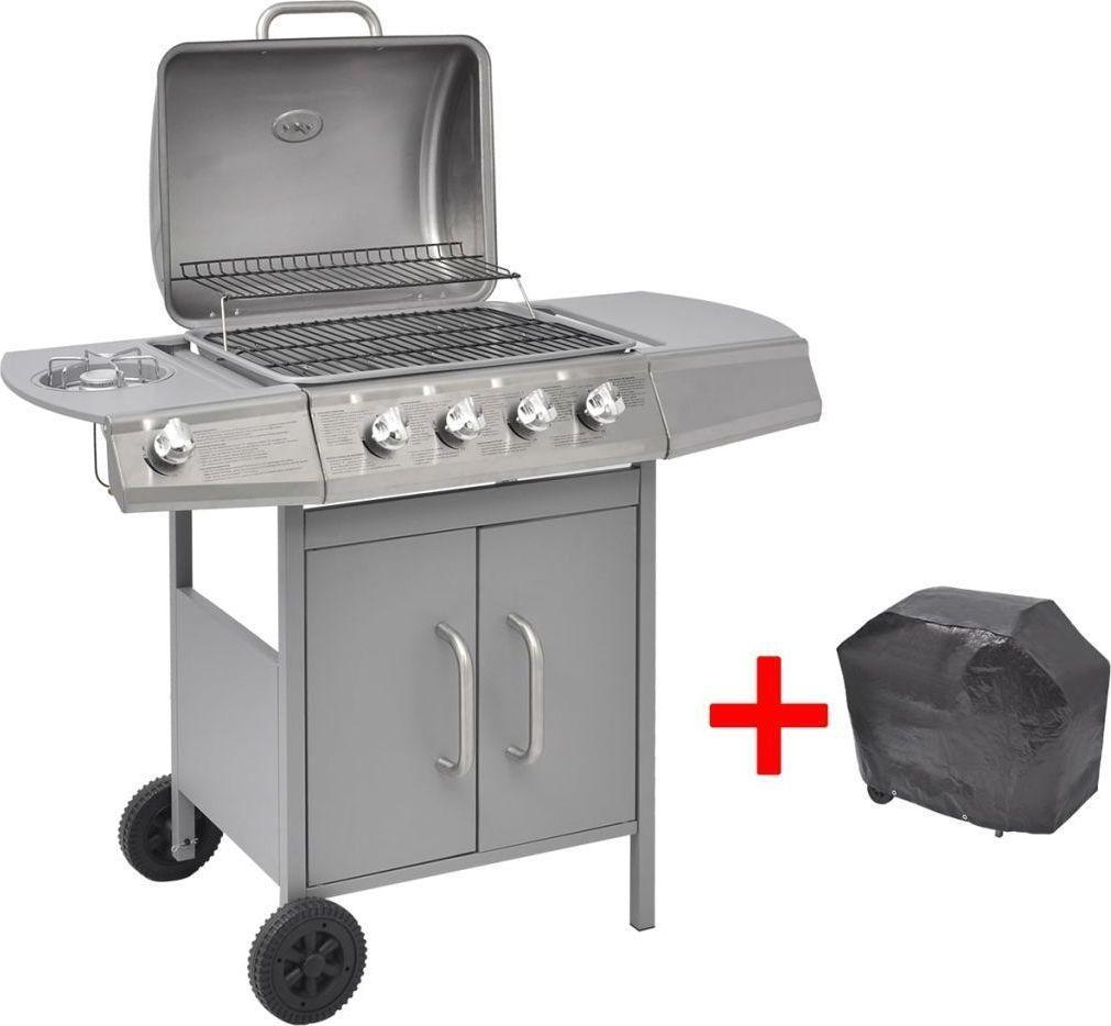 vidaXL Grill gazowy ze strefą gotowania 4+1, kolor srebrny 1