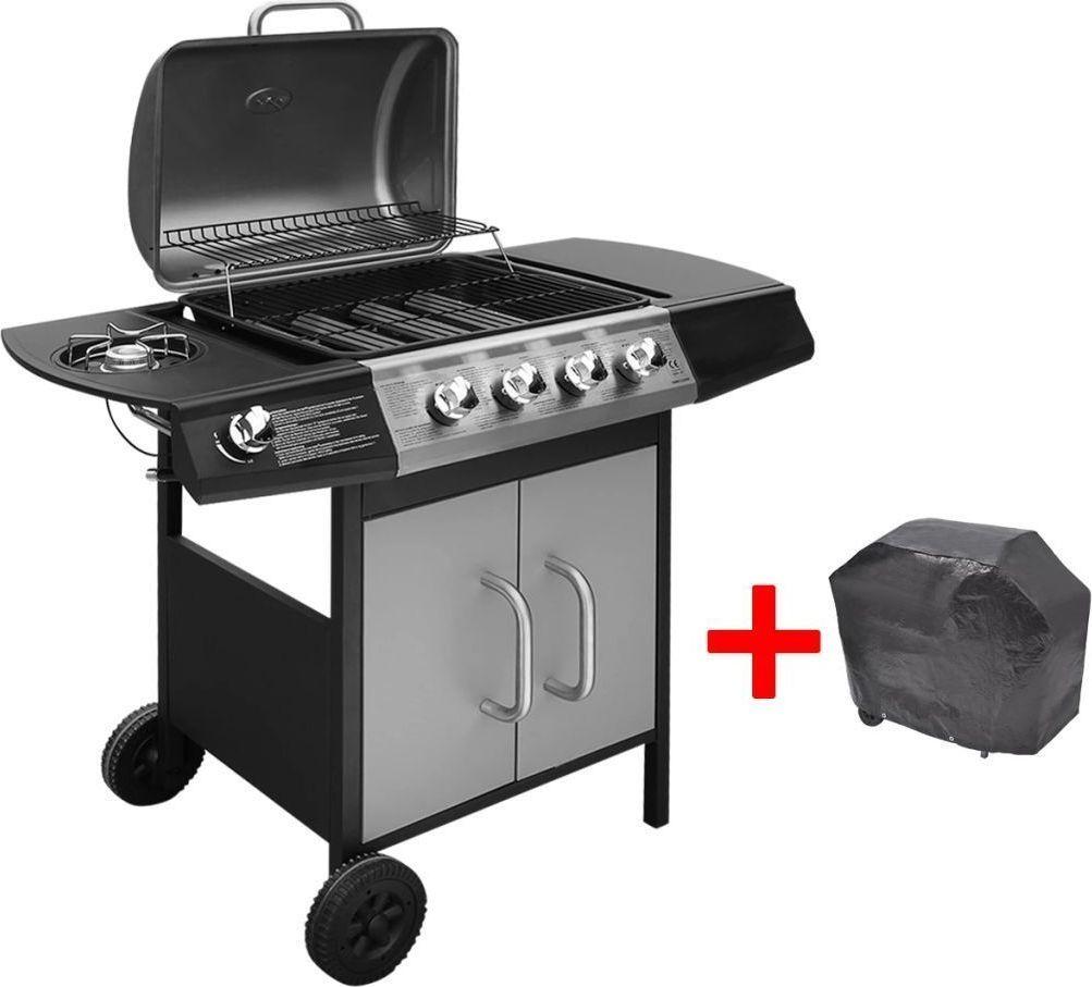 vidaXL Grill gazowy ze strefą gotowania 4+1, kolor czarno-srebrny 1