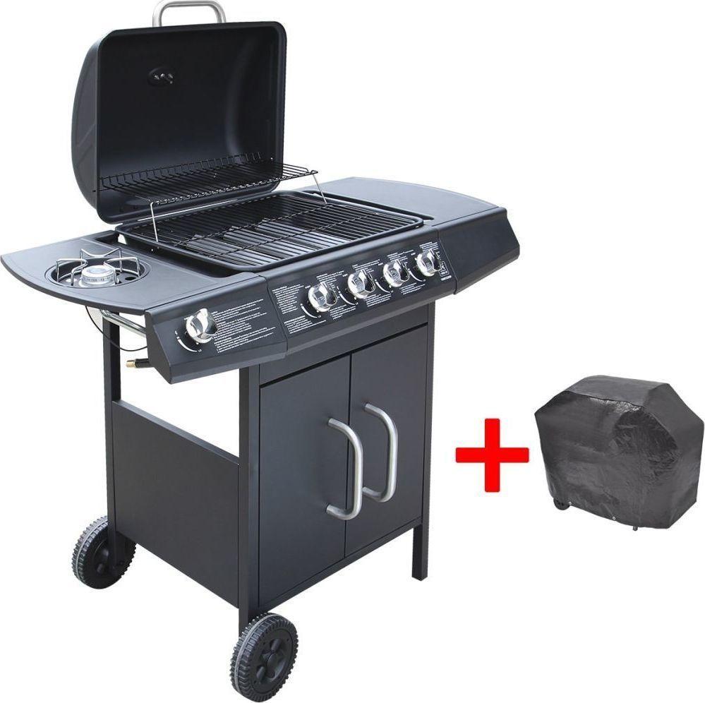 vidaXL Grill gazowy ze strefą gotowania 4+1, kolor czarny 1