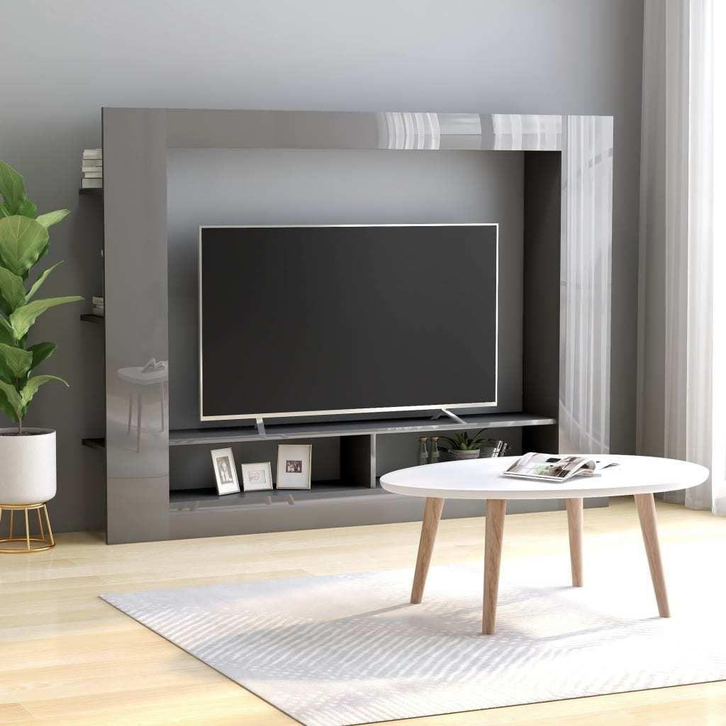 vidaXL Szafka TV, wysoki połysk, szara, 152x22x113 cm, płyta wiórowa 1