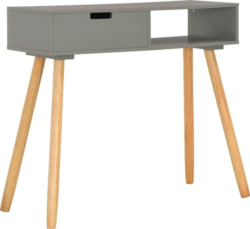 vidaXL Stolik konsola, szary, 80 x 30 x 72 cm, lite drewno sosnowe 1